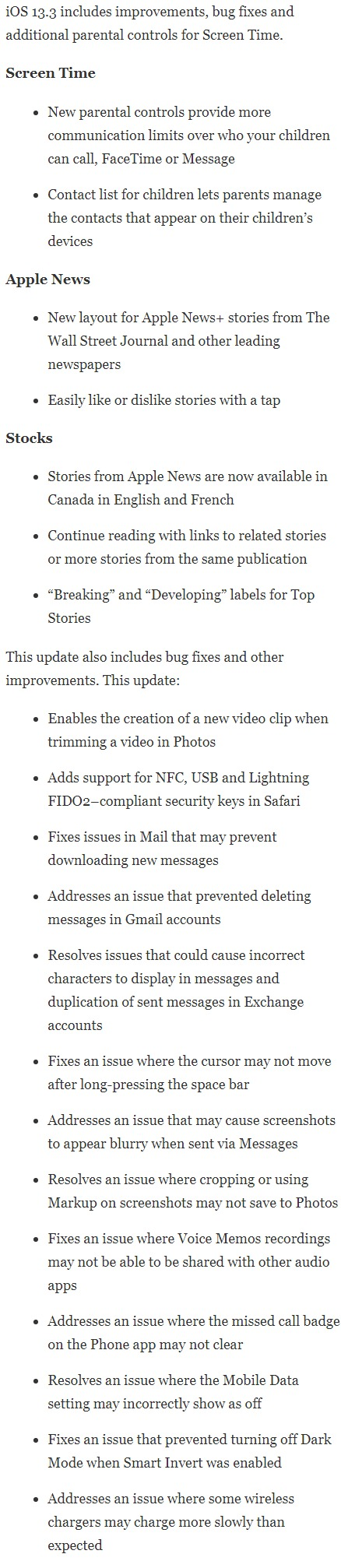 ios 13.3 final release notes
