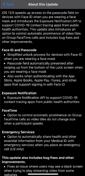 ios 13.5 release note