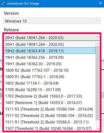selecting older win10 iso
