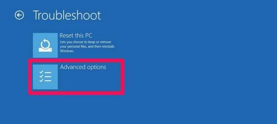 advanced options troubleshoot windows