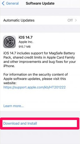 ios 14.7 download and install