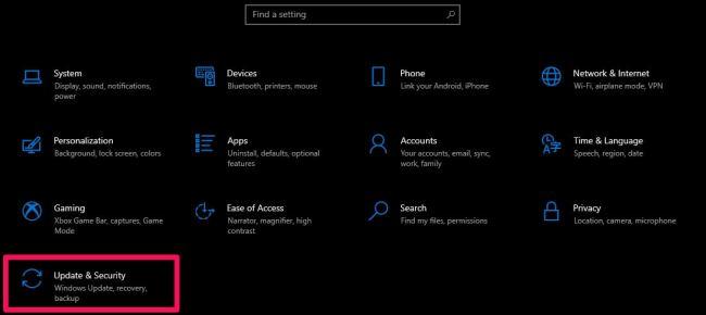 update & security windows settings