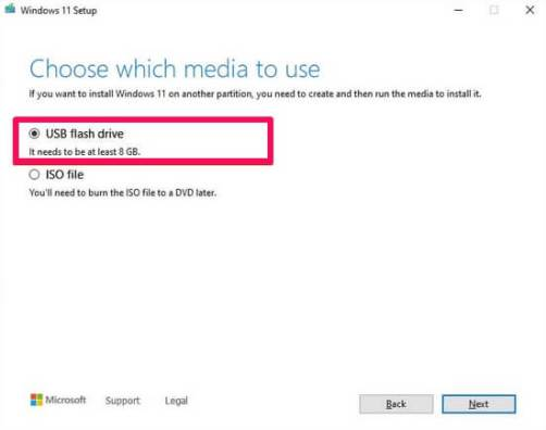 windows 11 usb flash drive