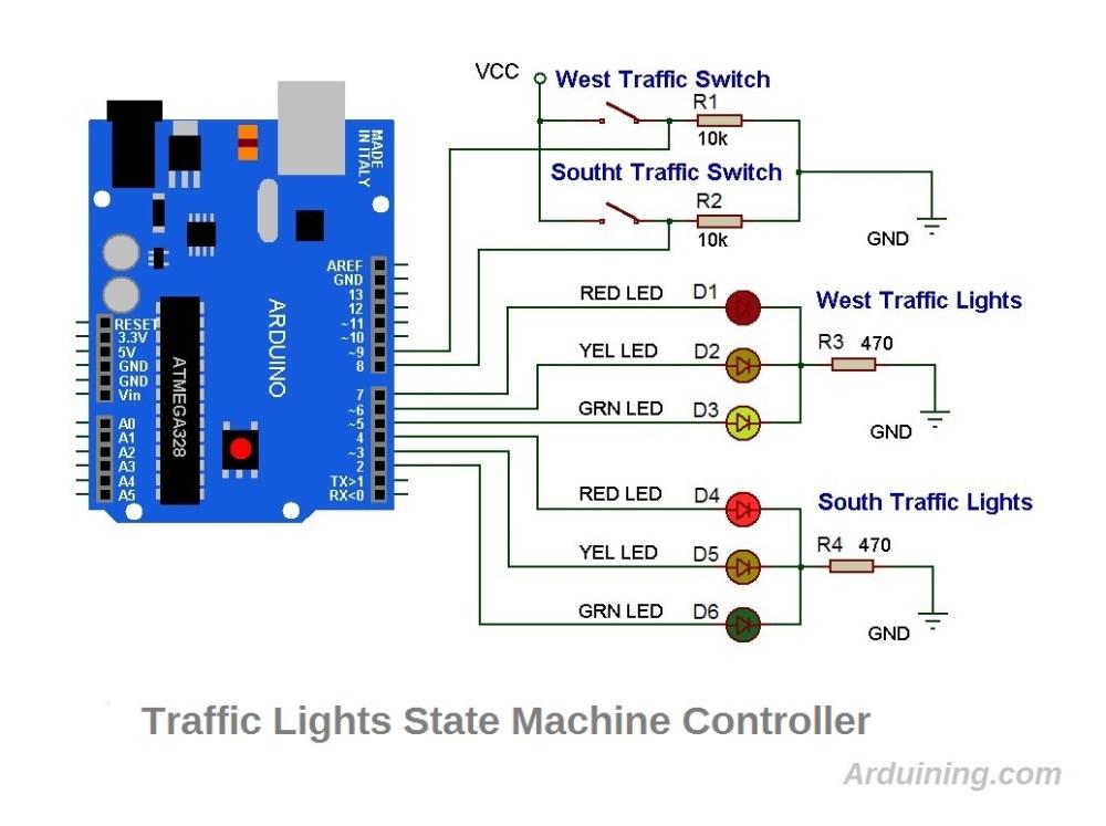 medium resolution of the wiring diagram with the arduino uno traffic light schematics4