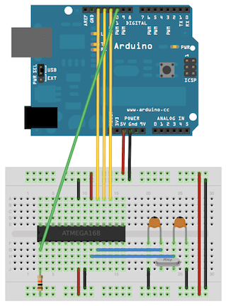 Wiring up the AVR to the Arduino