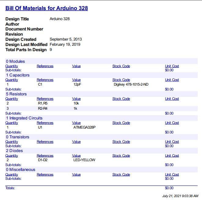 Liste des matériaux