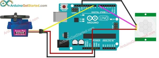 arduino  motion sensor  servo motor  arduino tutorial