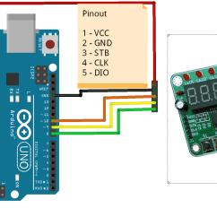 Pin 7 Arduino Parallel Wiring Diagram 8 Karakter Segment Seri Display Tm1638 Kablo Dahil