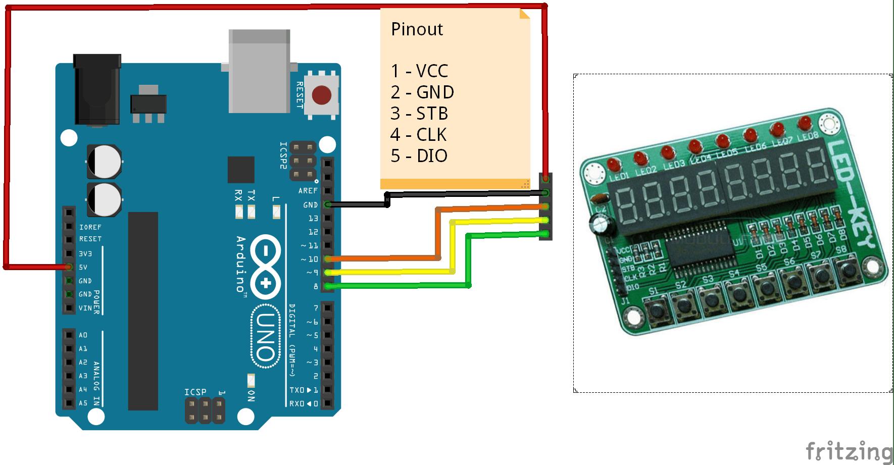 pin 7 arduino 2002 mitsubishi eclipse radio wiring diagram 8 karakter segment seri display tm1638 kablo dahil
