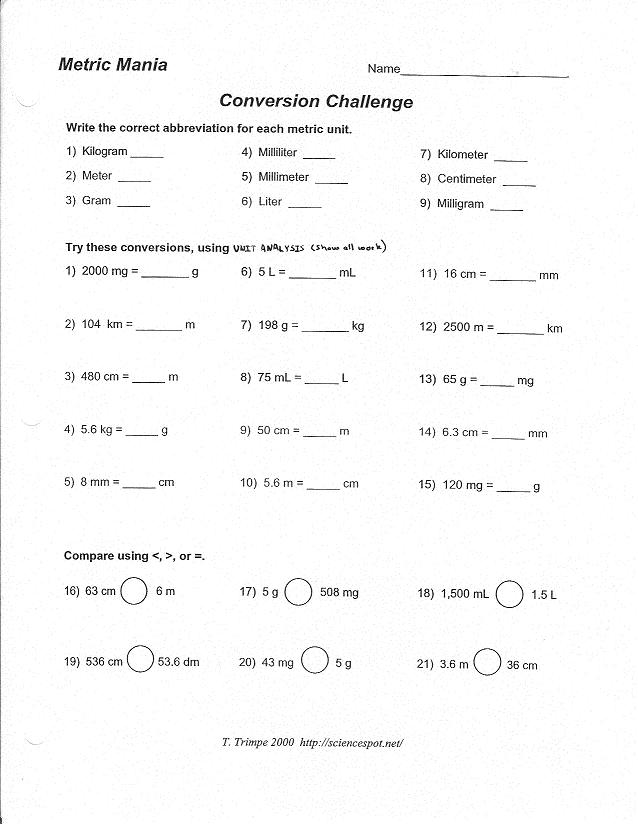 Metric Mania And Metric Conversion Worksheet
