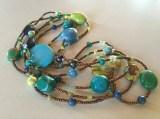 Multi turquoise, magnesite, ceramic, crystal, glass