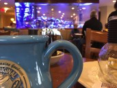 Huge aquarium in background at The Original Pancake House