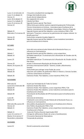 Calendario Actividades II