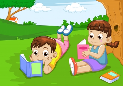 two kids reading outdoor