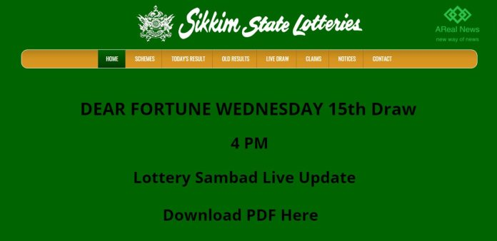 Sikkim State Lottery 4 pm Result DEAR FORTUNE WEDNESDAY