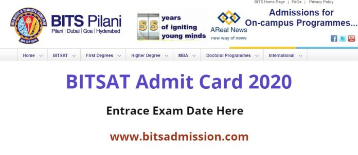 BITSAT Admit Card 2020 Download Name Wise