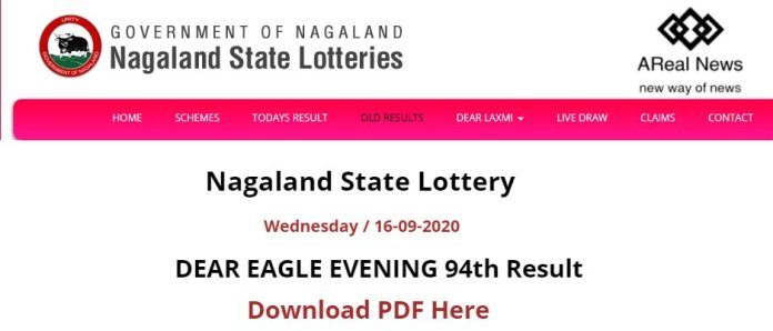 Nagaland State Lottery DEAR EAGLE EVENING 94th Result