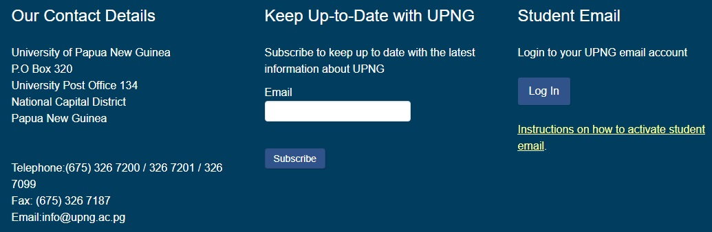 UPNG Application Form 2021