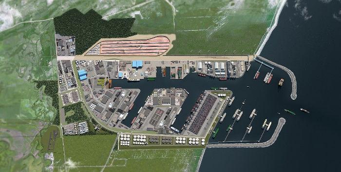Desenho do complexo portuário previsto para se instalar no município de Presidente Kennedy, no extremo sul do Espírito Santo CRÉDITO: Divulgação