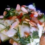 mozzarella salad with courgette and almonds