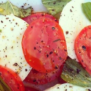 tomato basil and buffalo mozzarella salad
