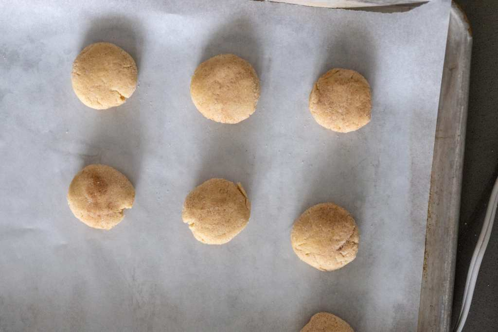 Chewy SNickerdoodles on a  baking sheet