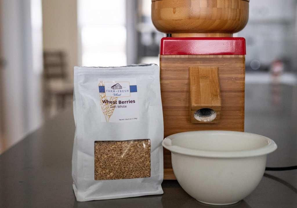 nutrmill grain mill with fresh soft winter wheat berries