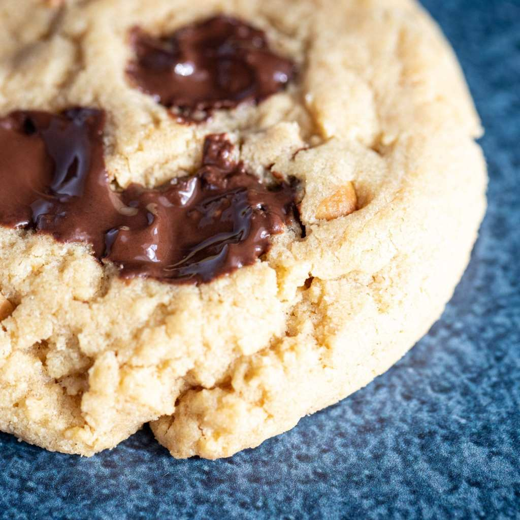 melted chocolate on peanut butter chocolate chip cookie