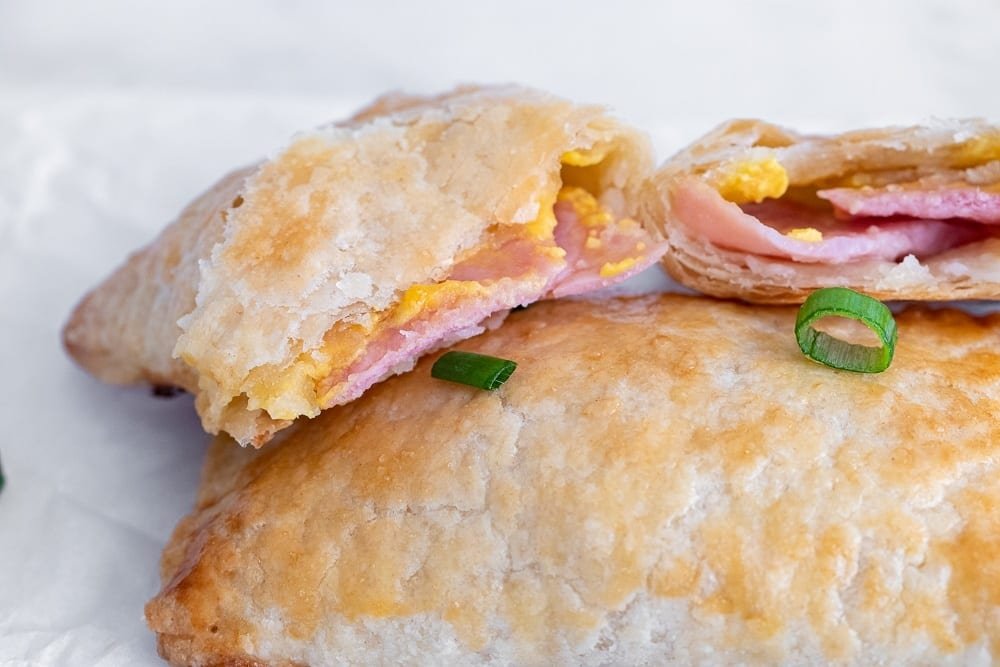 photo showing the inside of the ham and cheese pockets