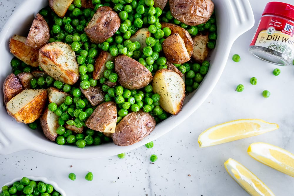 simple red potato and green pea side dish
