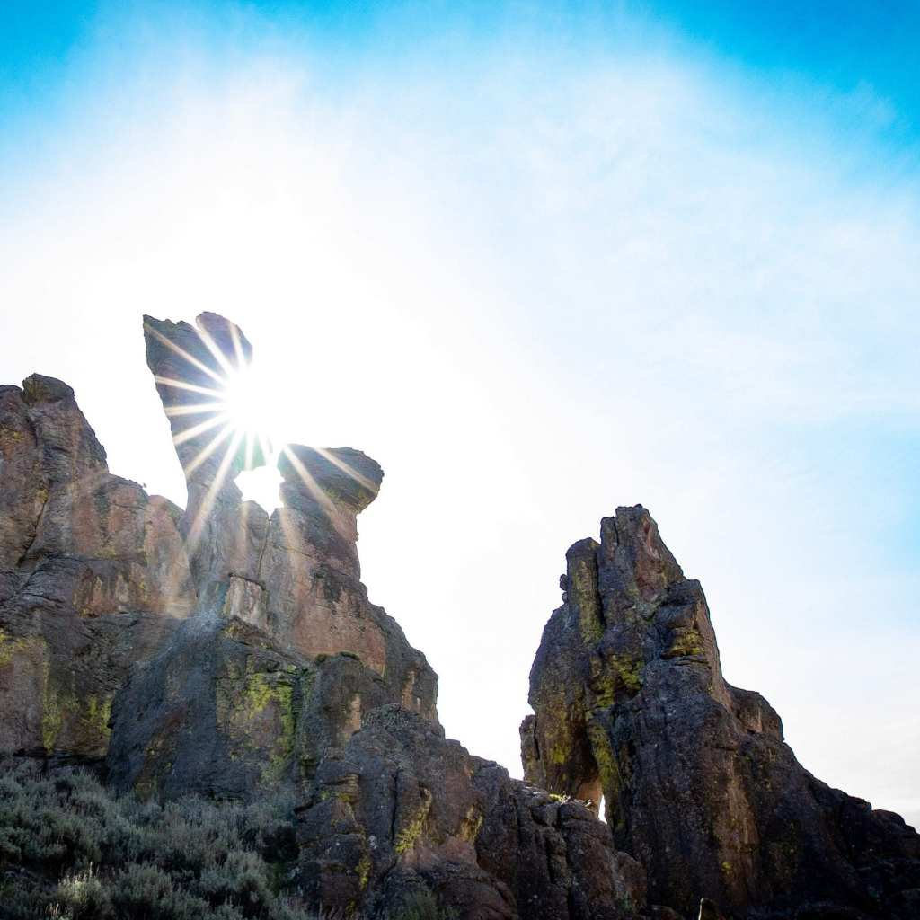 sun flare coming through hoodoos in little city of rocks idaho