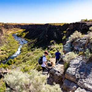 Family hiking on Box Canyon Springs trail near Wendell, idaho