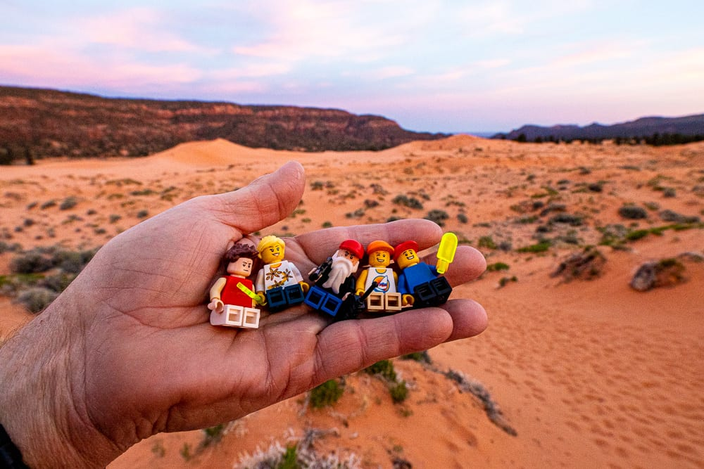 lego mini figures at coral pink sand dunes state park