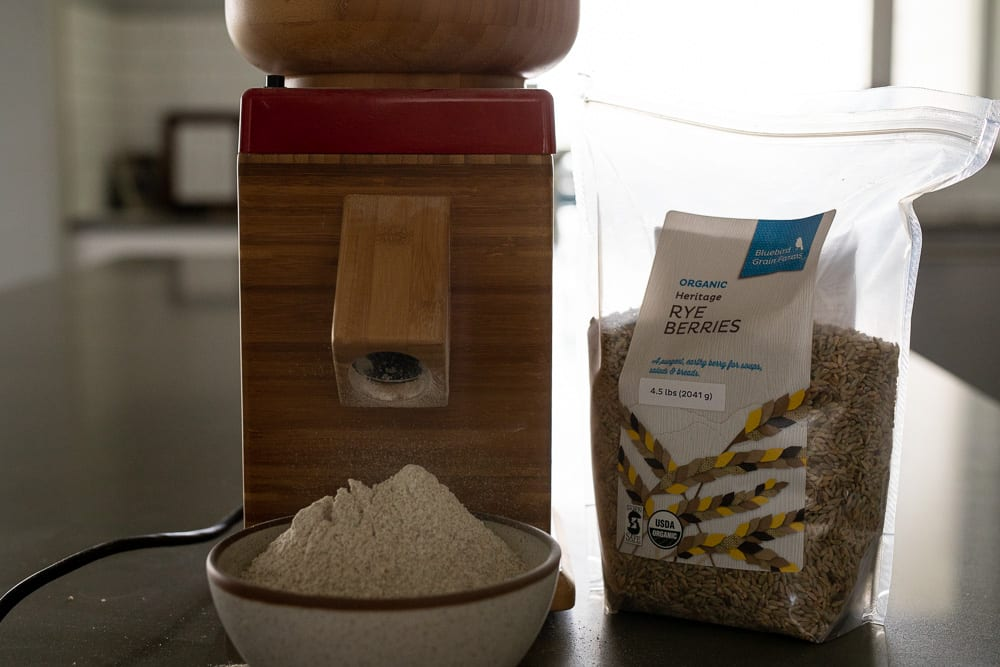 nutrimill grain mill and rye berries