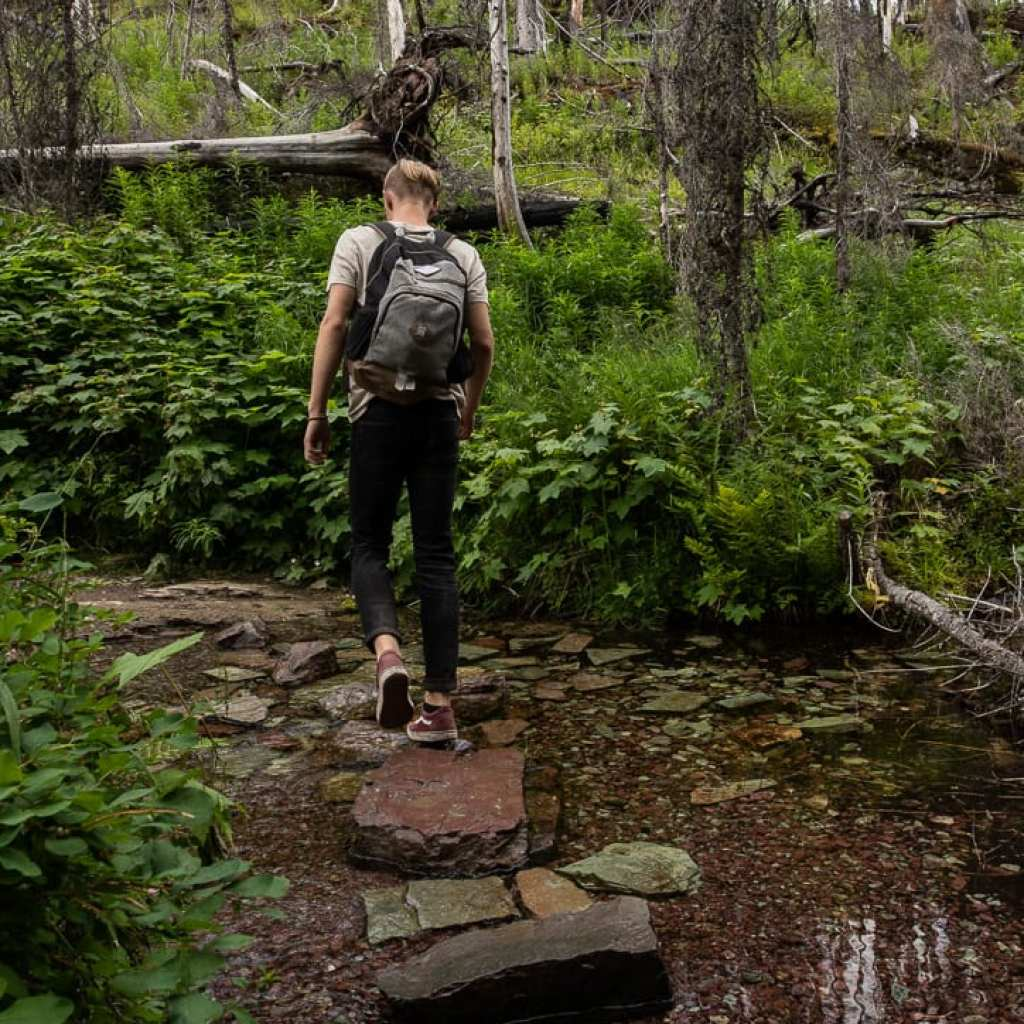 Boy Crossing stream on St. Mary's park Montana