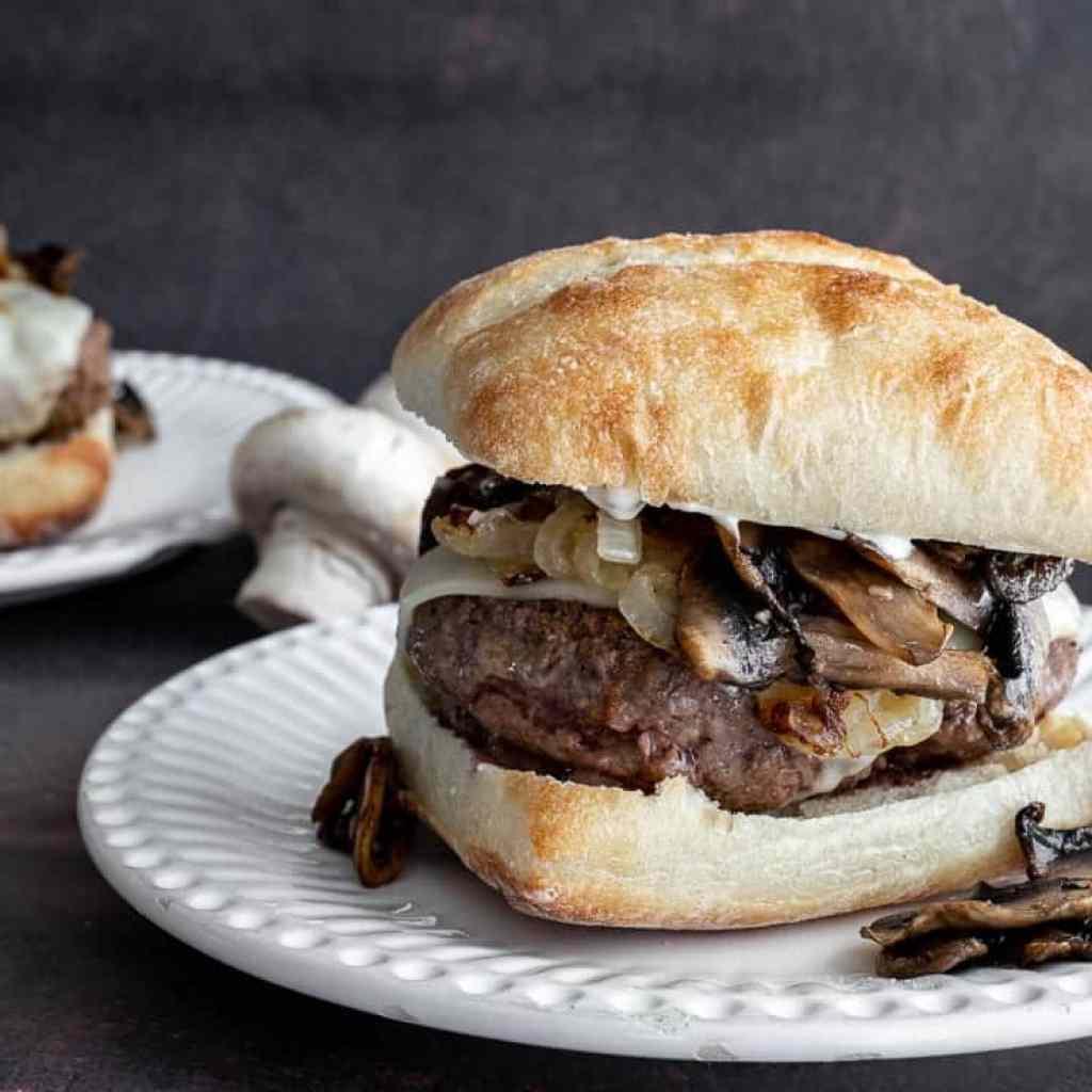 mushroom burger with caramelized onions