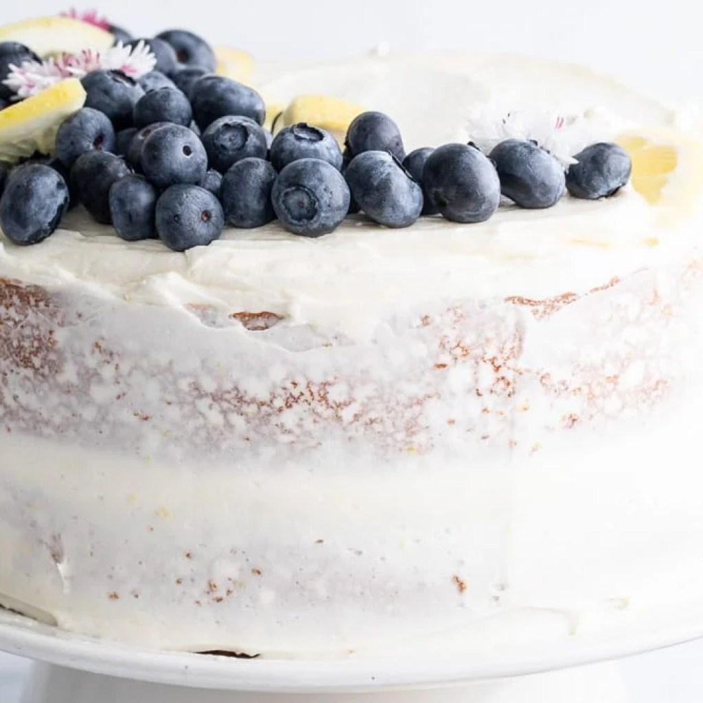 lemon cornmeal cake with blueberries