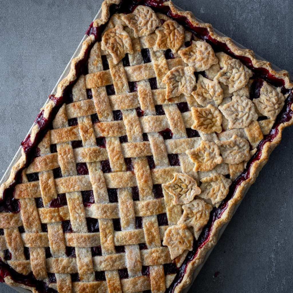 Beautiful Cherry Slab Pie with leaves for decoration