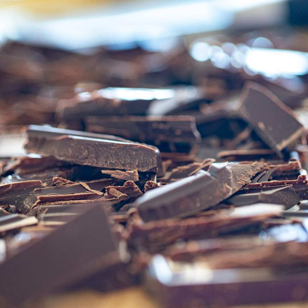 chopped ghiradelli bittersweet chocolate on cutting board
