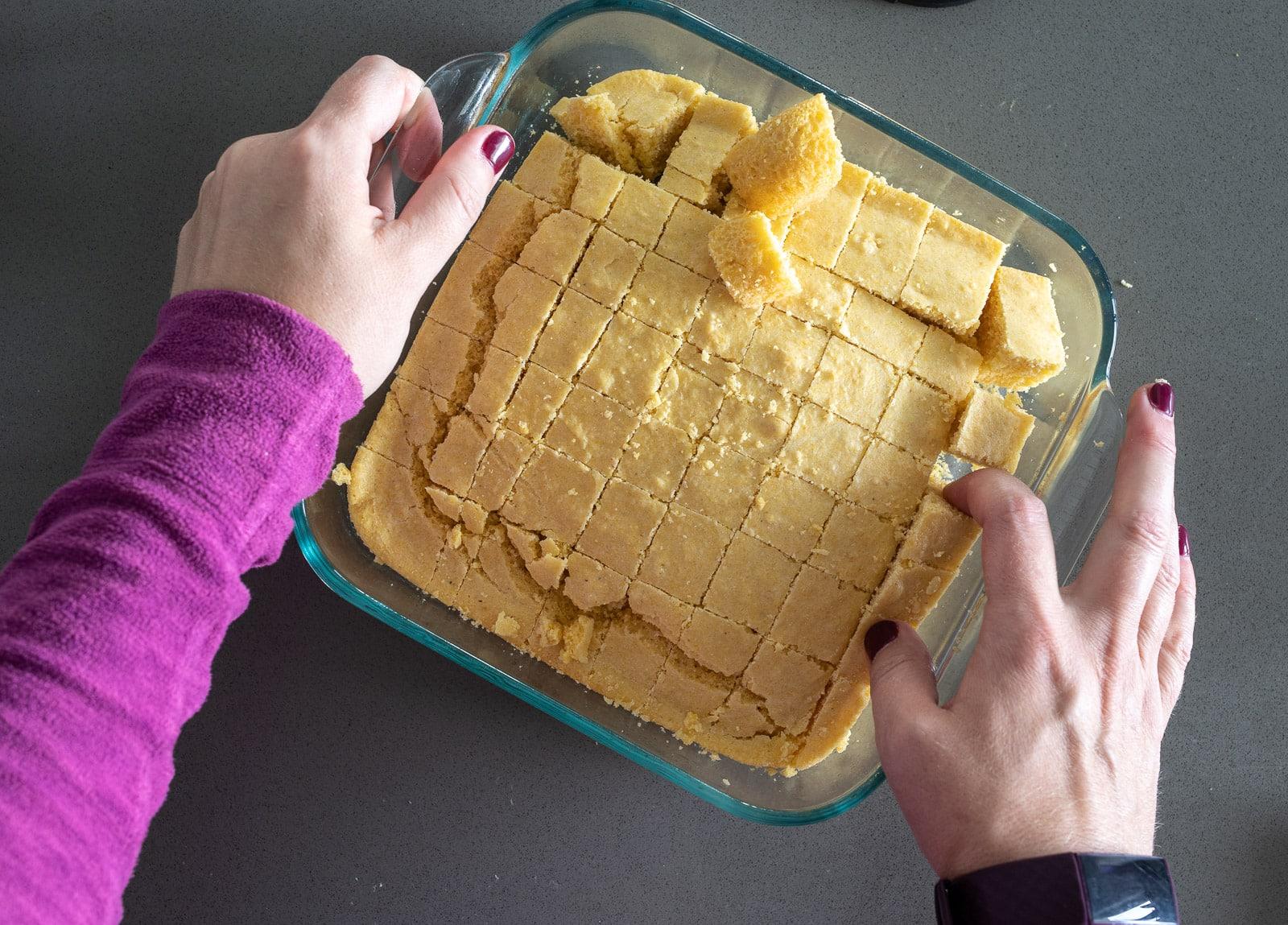 Baked Cornbread in an 8x8 glass pan.