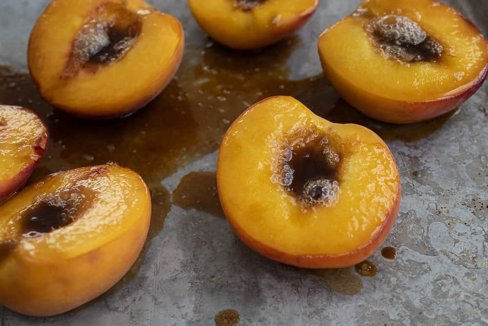 Baked peaches with brown sugar.