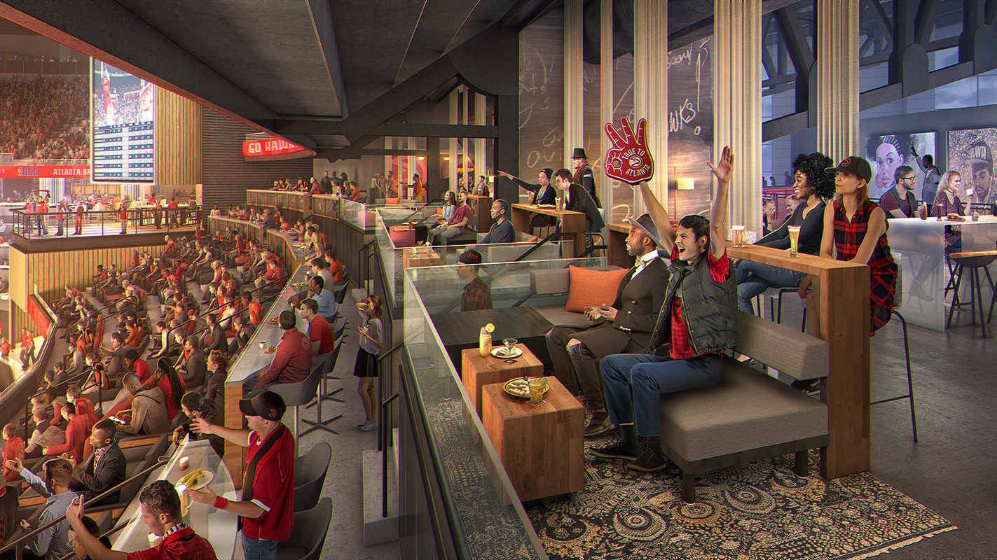 swing chair restaurant bean bag chairs corduroy philips arena renovation in final phase - digest