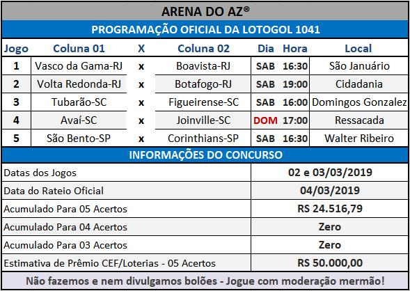 Loteca 842 / Lotogol 1041 - Programações com informações financeiras e as relações dos jogos dos concursos.