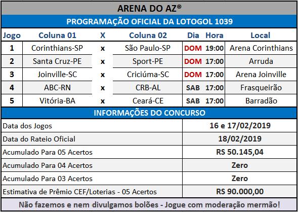 Loteca 840 Lotogol 1039 Programações com informações financeiras e a relação dos jogos dos concursos.