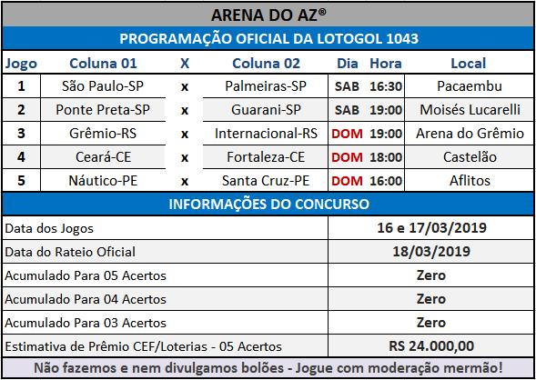 Loteca 844 / Lotogol 1043 - Programações com informações financeiras e as relações dos jogos dos concursos.