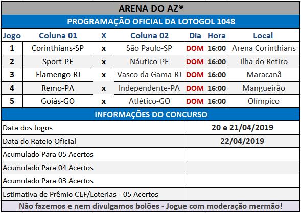 Loteca 849 / Lotogol 1048 - Programações com informações financeiras e as relações dos jogos dos concursos.