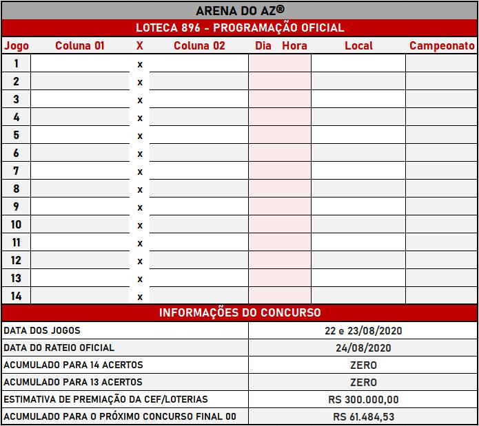 Loteca 896 - Programação Atualizada com informações financeiras e relação dos jogos do concurso.
