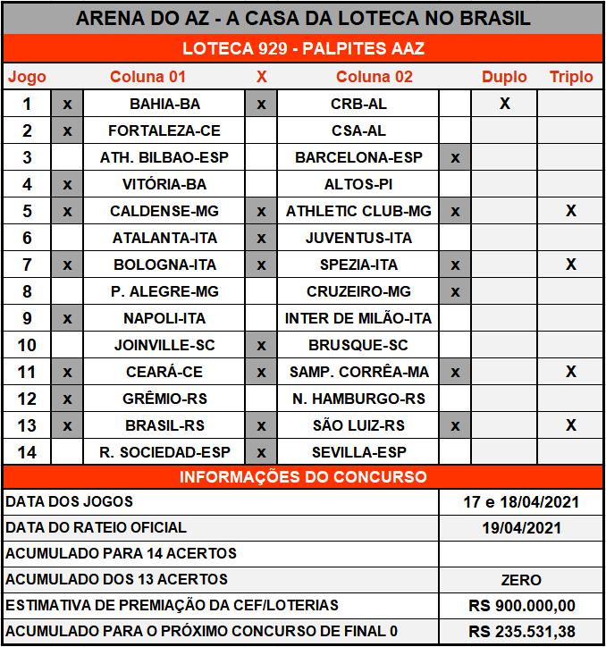 Loteca 929 - Palpites & Históricos - Palpites imparciais e relevantes, ideal para quem gosta de apostas mais arrojadas, acompanhados com os históricos mais recente de cada um dos 14 jogos da grade.