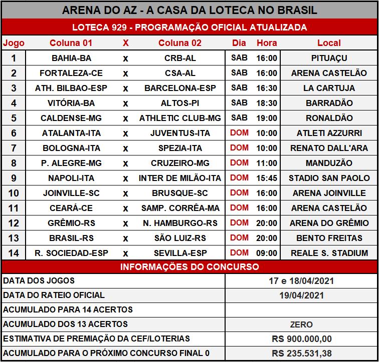 Loteca 929 - Programação Atualizada com informações financeiras, dias, horários e locais dos jogos. Mais uma exclusividade do AAZ, o Maior e Melhor Portal de Loteca do Brasil.
