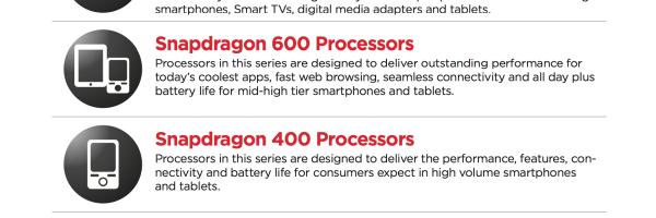 Platformele Snapdragon 800 si 600 anuntate